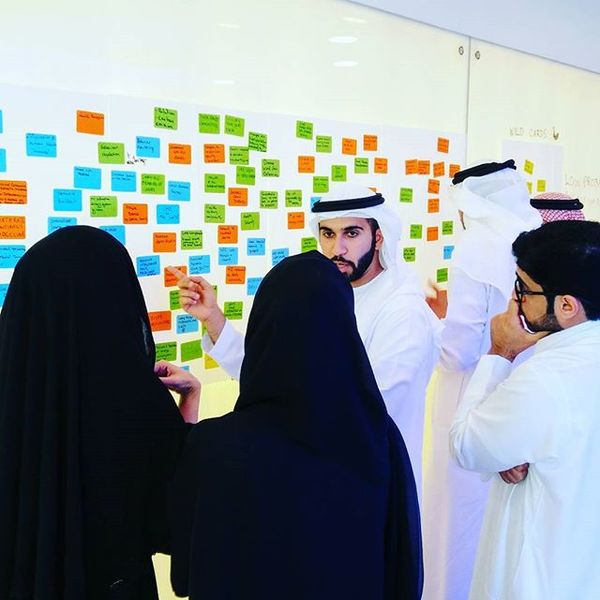 Teams discuss scenarios emerging from Dubai's possible futures.