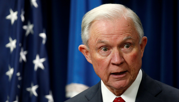 Minister Jeff Sessions van Justitie )foto: Reuters)