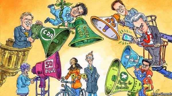 Cartoon over de Nederlandse verkiezingen in The Economist