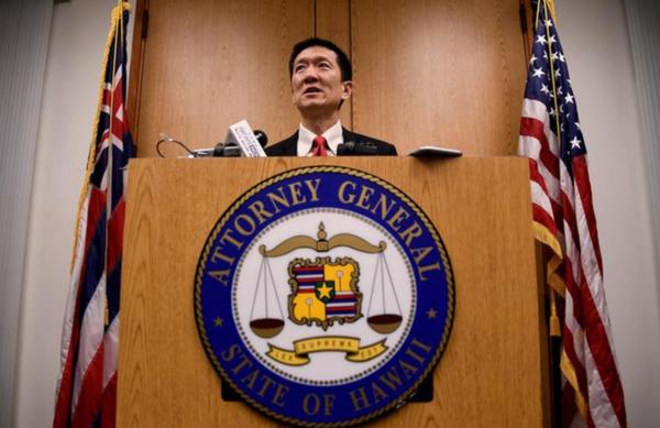 Minister Chin van Justitie van de staat Hawaii had de zaak aangespannen tegen Trumps reisverbod (foto: Reuters)