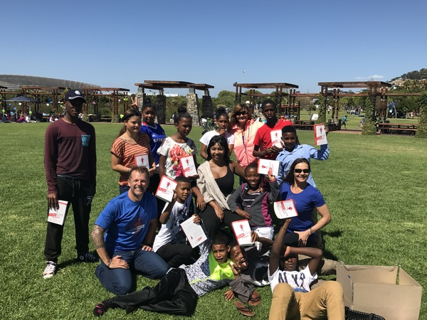 coaching session and book giveaway with teens in Cape Town