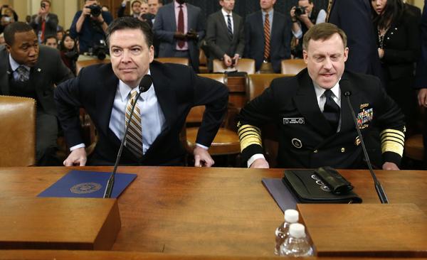 FBI-directeur James Comey en NSA-directeur Michael Rogers getuigden gisteren voor de House Intelligence Committee (foto: Reuters)