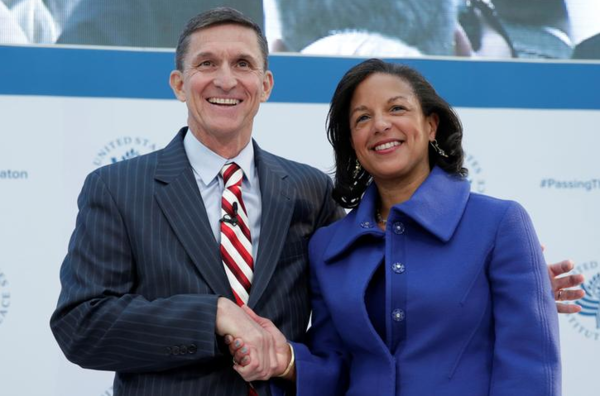 Susan Rice met haar opvolger Michael Flynn, de inmiddels ontslagen Nationale Veiligheidsadviseur van Trump (foto: Reuters)