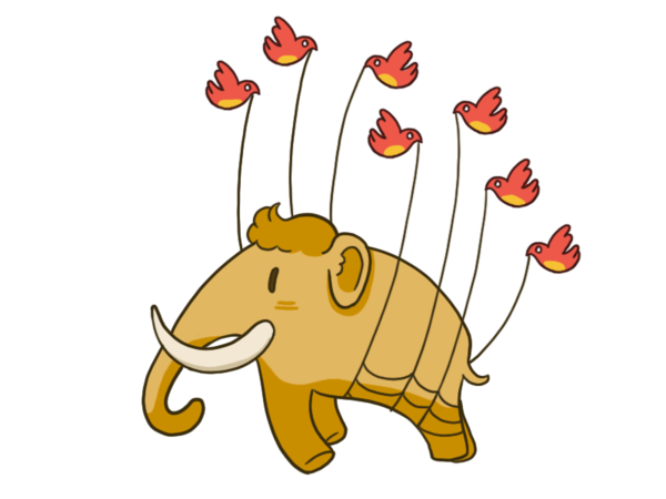 Adorable Fail Mammoth in reference to Twitters Fail Whale