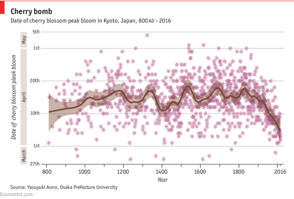 Date of cherry blossom peak bloom in Kyoto, Japan - via Economist.com