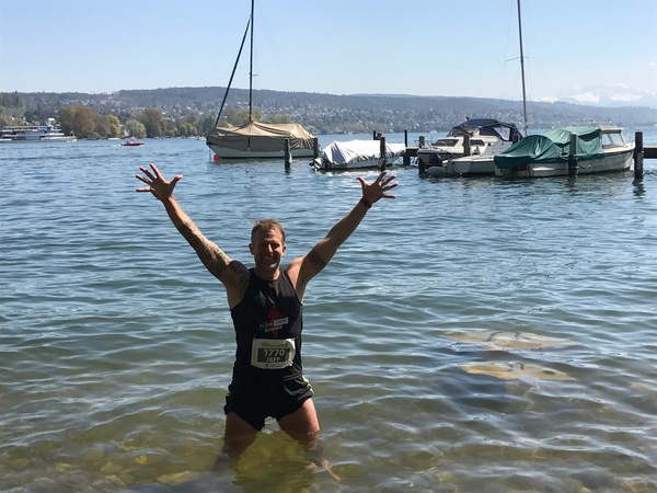 Post-race leg therapy in a cold Lake Zurich!