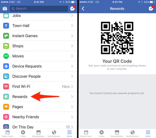 Facebook Tests Rewards QR codes