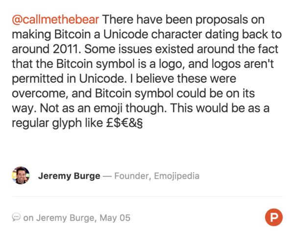 On the important question of why there isn't a bitcoin emoji 🤔