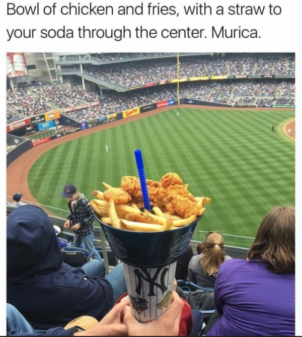 At a baseball game. Maybe the most Murica thing ever.