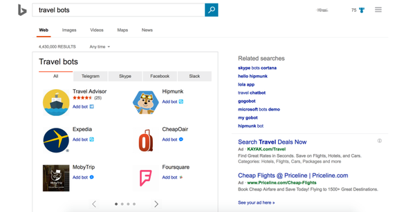 Bing now serves up bots from Facebook Messenger, Slack, and other chat apps
