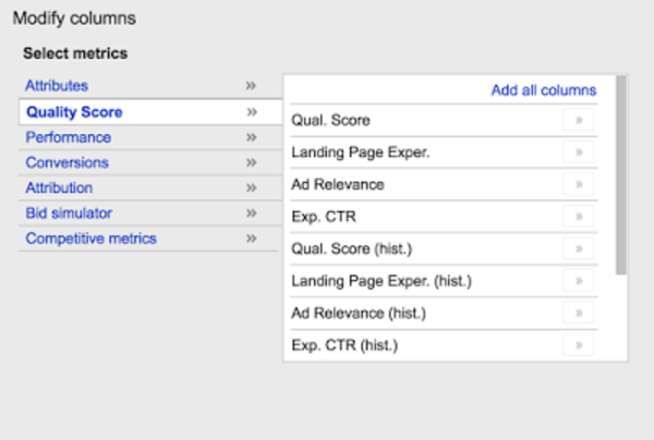See historical Quality Score data in AdWords