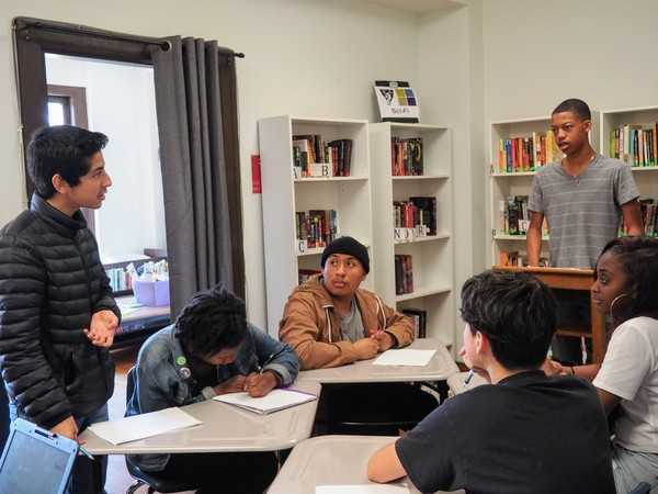 Tenth graders in loyal subscriber Samantha's class debate whether voting should be compulsory. Photo by loyal subscriber Laura. Envision Academy, Oakland.