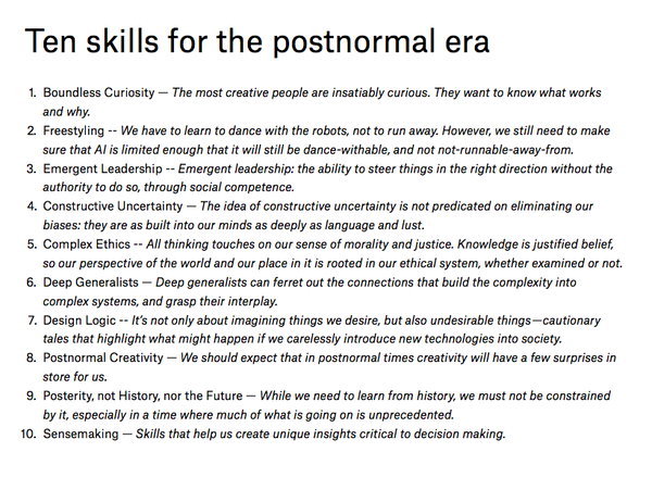10 work skills for the postnormal era