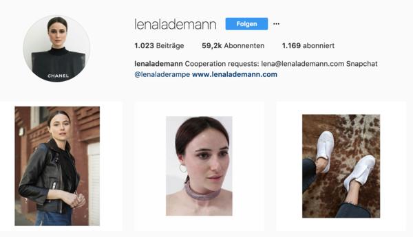 Das Instagram-Profil von Lena Lademann