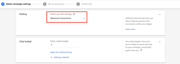 AdWords: Maximize conversions with Smart Bidding