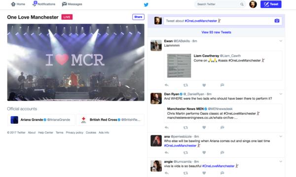 Liam Gallagher op Twitter live tijdens One Love Manchester