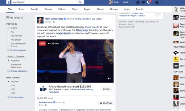 Ook Mark Zuckerberg is blij met One Love Manchester op Facebook.