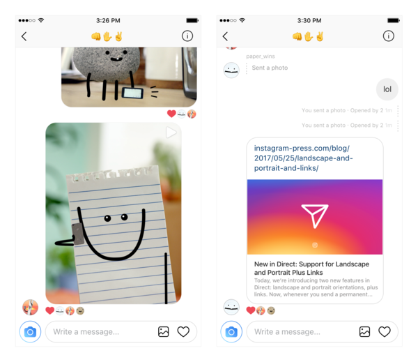 New in Instagram Direct: Support for Image Orientation + Links