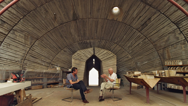 A still from a favorite scene from Doug Aitken's The Source with Paolo Soleri