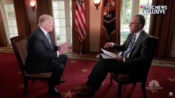 """He interview van Trump met NBC News, waarin zegt dat het """"Rusland ding"""" door zijn hoofd speelde toen hij Comey ontsloeg (foto: NBC News)"""