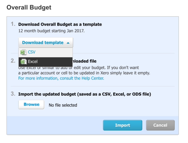 Now you can import budgets into Xero from Excel format.