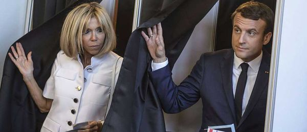 Brigitte & Emmanuel Macron exiting the polling booth last Sunday