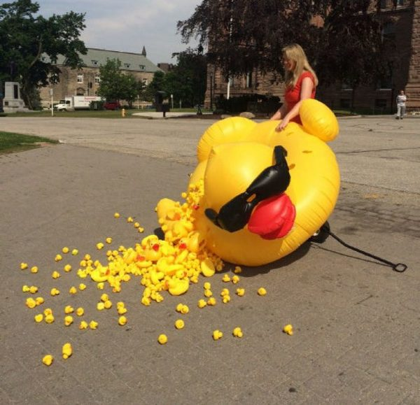 Christine Van Geyn, director of the Canadian Taxpayers Federation, calls the giant duck absurd