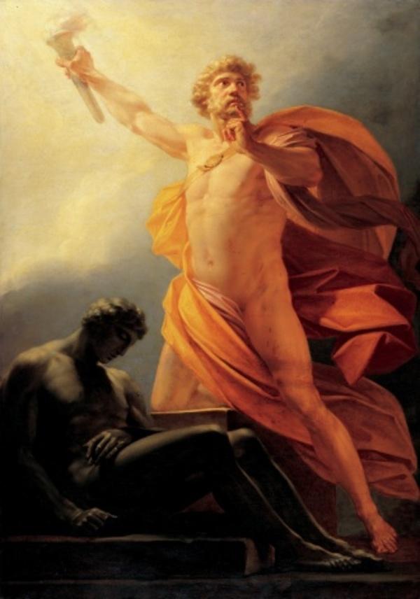 Prometheus die het vuur steelt van de goden