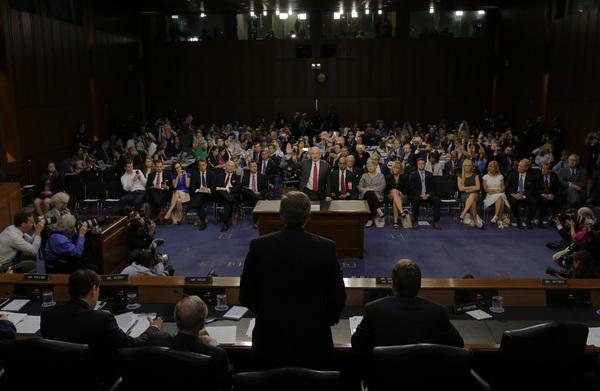 De inlichtingencommissie van de Senaat verhoorde deze week minister Sessions van Justitie over zijn contacten met Russische functionarissen (foto: Reuters)