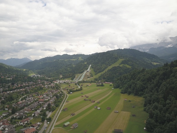 Over Garmisch-Partenkirch looking at the Olympic Ski Jumping Area