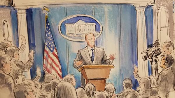 Amerikaanse media beelden de persconferenties van Sean Spicer met een tekening uit, omdat camera's steeds vaker niet worden toegestaan (foto: CNN)