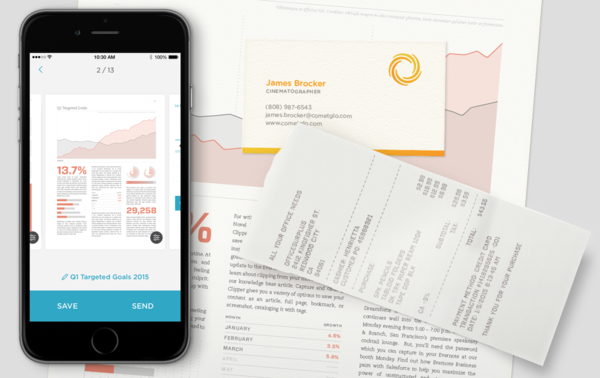 Turns your cell phone into a document scanner.