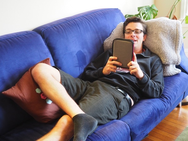 Preparing Kindles for students is no joke. Here's Joel hard at work at the Summer Kindle Party a couple Saturdays ago.