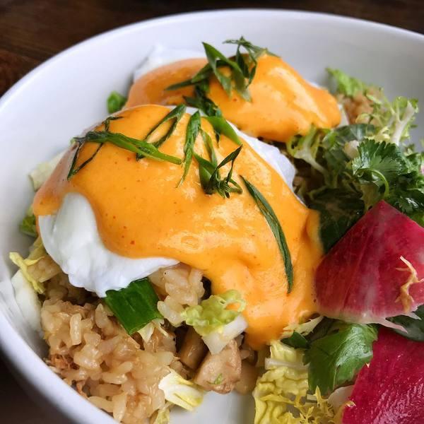 """""""Chicken Adobo fried rice bowl"""" by Odys + Penelope (@kateatsla)"""