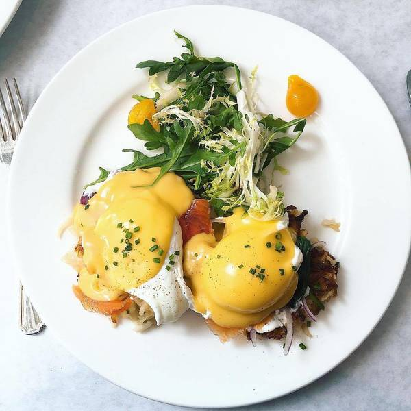 """Salmon Benedict"" by Bottega Louie (@bottegalouie)"