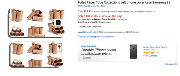 """I totally wanted toilet paper rolls on my phone case!"" - said no human ever"