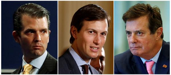Donald Trump jr, Jared Kushner en Paul Manafort (foto: Reuters)