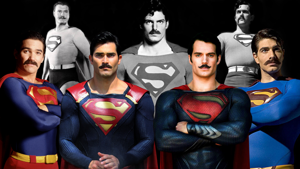 Henry Cavill is in good company with moustachioed Supermen