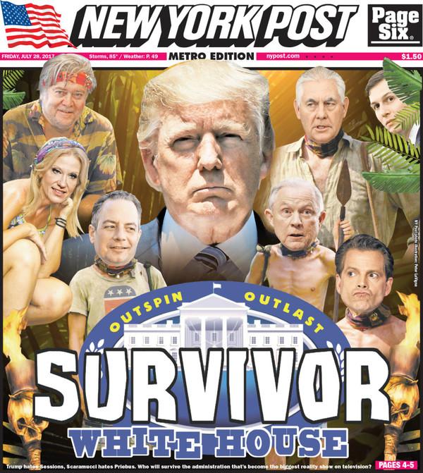 De voorpagina van de tabloid New York Post vandaag