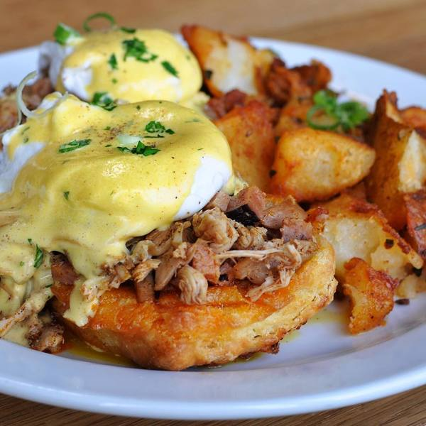 """Smoked Chicken Eggs Benedict"" by Side Chick (@kateatsla)"