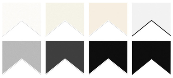 Our new mount board colour previews.