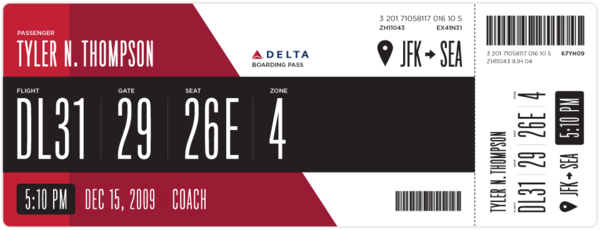 Redesigned Delta Boarding Pass