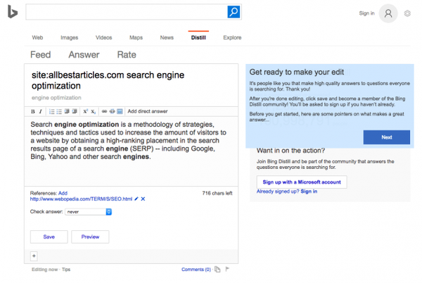 Edit Bing Featured Snippets With Bing Distill