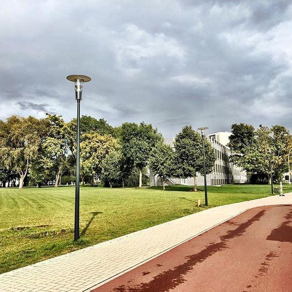 Een foto van het Universitair Ziekenhuis Gent met wat wolken en bomen.