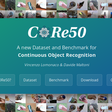CORe50: a new Dataset and Benchmark for Continuous/Lifelong Deep Learning