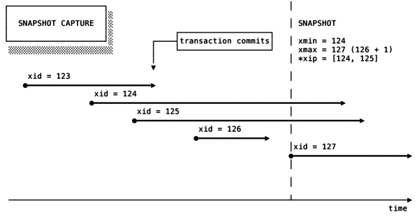 Transactions executing against a database