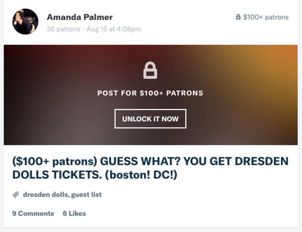 Voorbeeld van een Patreon-post, door artiest Amanda Palmer (die 40.000 dollar 'per ding' krijgt)