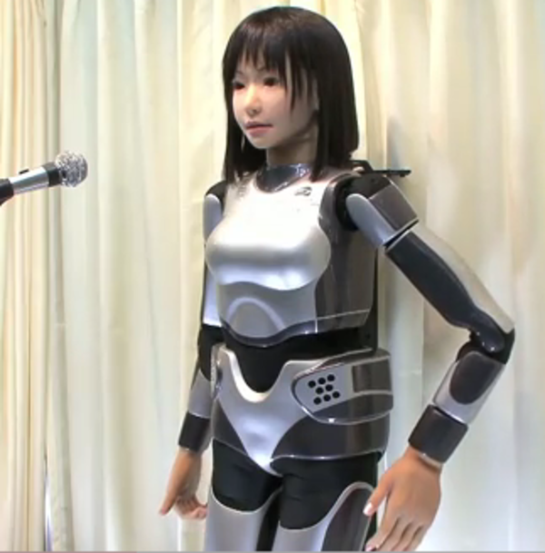 Japan robot, HRP-4C, developed by the National Institute of Advanced Industrial Science and Technology, runs on approximately 30 body motion motors programmed to mimic human movements.