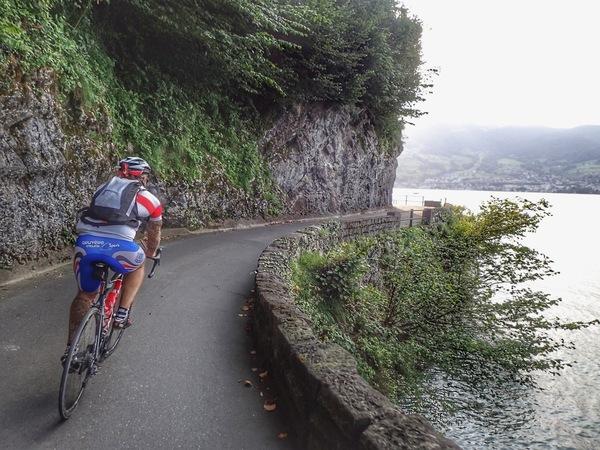 Biking along the Vierwaldstättersee (Lake Lucerne) in Switzerland