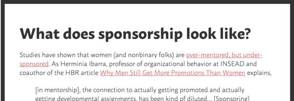 Don't mentor, Sponsor.